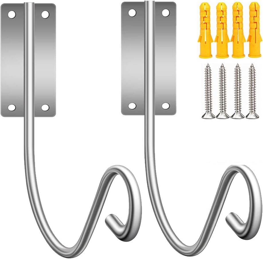 EFFIET 2 Packs Stainless Steel Garden Hose Holder Hanger, Heavy Duty Wall Mounted Hose Reel Rack Bracket Deco Hose Storage Hook, Holds 125-Feet of 5/8-Inch Hosepipe, Extension Cords…