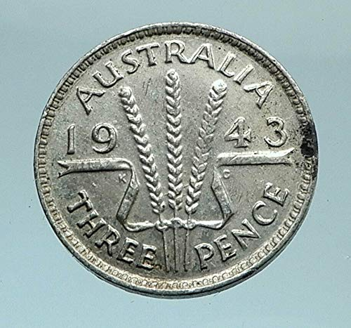 1943 AU 1943 AUSTRALIA - Threepence SILVER Coin - UK King coin Good Uncertified