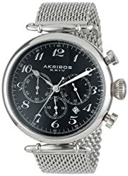 Akribos XXIV Men's AK627SSB Retro Stainless Steel Watch With Mesh Band
