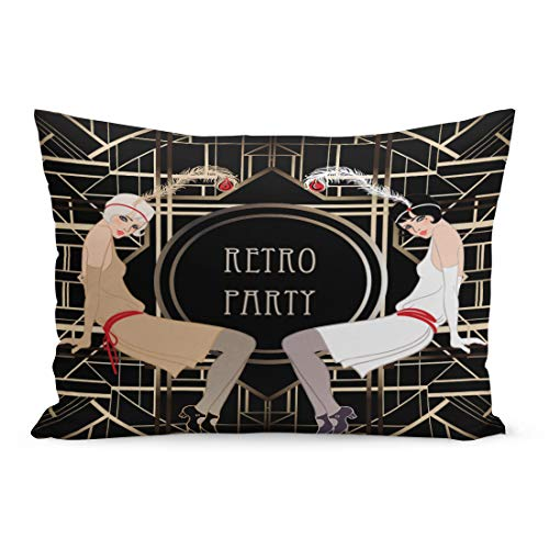 Semtomn Throw Pillow Covers 1920S Flapper Girl Retro Party Speakeasy Roaring 20S Mafia Nostalgia Pillow Case Cushion Cover Lumbar Pillowcase Decoration for Couch Sofa Bedding Car 20 x 26 inchs -