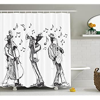 Amazon.com: Ambesonne Jazz Music Decor Collection, Sketch Style of a ...