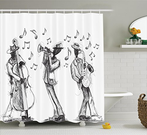 Ambesonne Jazz Music Decor Collection, Sketch Style of a Jazz Band Playing Music with Instruments and Musical Notes Print, Polyester Fabric Bathroom Shower Curtain Set with Hooks, Black White (Note Collection Musical)