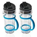 ninja bottle blender - ELEFOCUS 2 PACK 16oz Cup for Nutri Ninja Blender 16oz Cup W/ Lid + Blue Water Bottle Handheld Carrier[2 Pack] for BL770 BL780 BL810 BL820 BL830 BL660 BL663 Pro 4 Tab Blenders