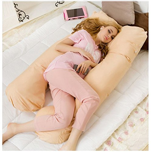 MD Group Body Pillow Maternity Cushion Apricot Comfortable Pregnancy U Tyle Sleepers Removable Side