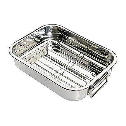 Oniel - Rustidera de Horno con Grill - Acero Inoxidable - 35 cm - Hecha en
