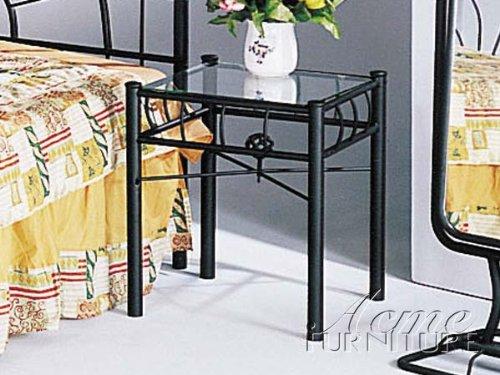 'sunburst' Design Black Wrought Iron Metal Nightstand Acme Furniture 4905 Nightstand