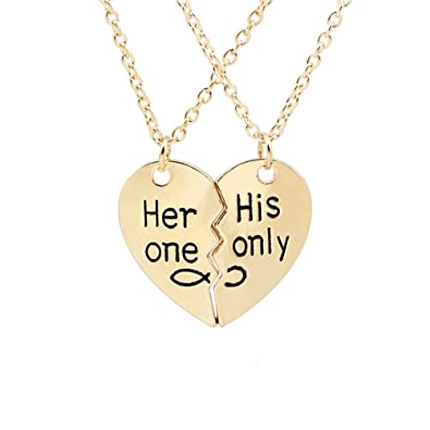5d2f3d336a Couple Relationship Necklaces BESTOYARD Her One His Only Heart Puzzle  Necklace Valentine Gift (Gold): Amazon.co.uk: Jewellery