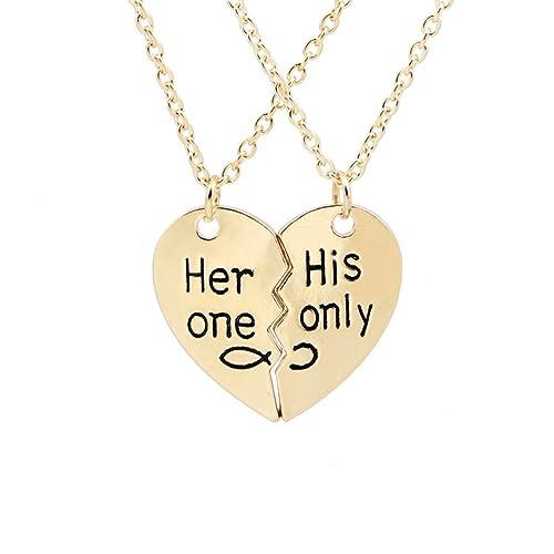 Luoem Verliebte Paar Halskette Anhanger Mit Gravur Gebrochene Herz
