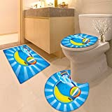 3 Piece Anti-slip mat set Spring frame with hot air balloon and bow Non Slip Bathroom Rugs