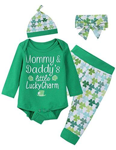 Mini Era Baby Boys Girls Cute ST Patrick's Day Romper Clover Pants Headband With Hat (6-12 (Band Pajama)