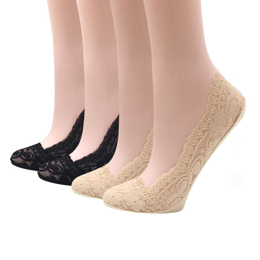 Dsaren Unsichtbare Socken 4 Paar Ballerina Socken Damen Rutschfeste F/ü/ßlinge Low Cut Socken