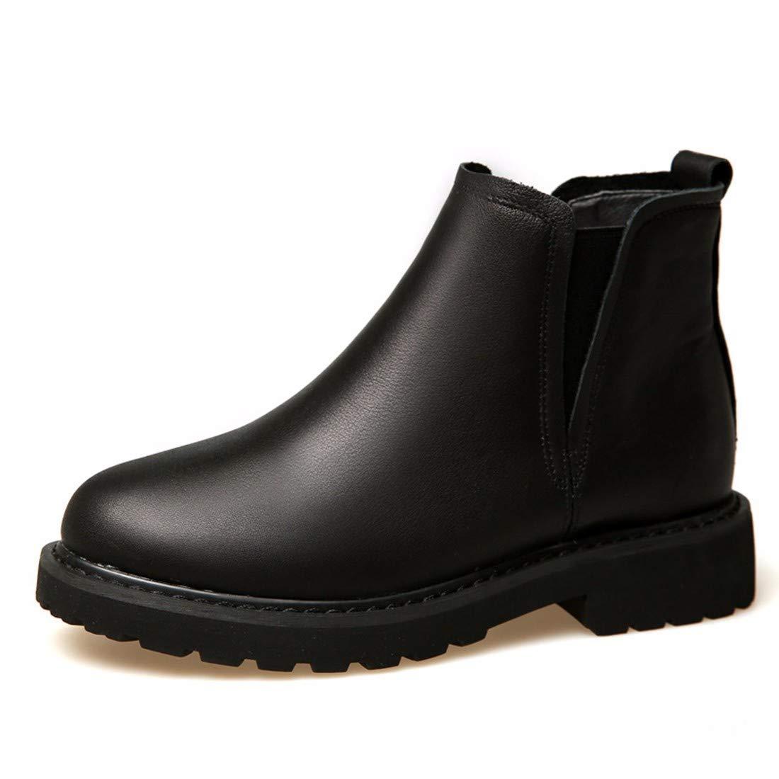 BeatinToes Damen Winter Warm Anti Slip Wasserdicht Naturleder Martin Stiefel Square Ferse Casual Schuhe Reine Farbe Kurze Stiefel