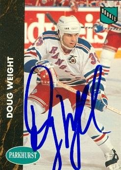Autograph Warehouse 68182 Doug Weight Autographed Hockey Card New York Rangers 1991 Parkhurst Rookie No. 116 -