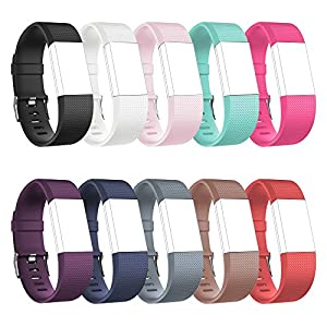 RedTaro Replacement Elastomer Wristband for Fitbit Charge 2, Small (5.9-8.6)-Inches, 998 - 10 Plain Colors