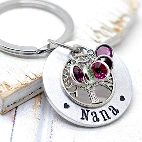 Grandma Nana Family Tree Key Chain, Gift from Grandkids - Birthstone Crystals Silver Tone Key Holder