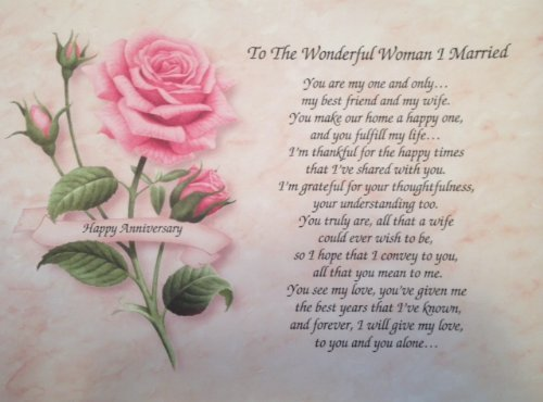 """Anniversary Gift For Wife """"To The Wonderful Woman I Marri..."""