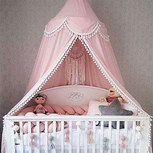 Bed Canopy Round Dome, Chiffon Mosquito Net Indoor Outdoor Playing Reading Tent Bedroom Decoration for Baby Kids Room (Pink) (Canopy Cribs)