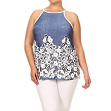 Womens Plus Size Print Tank Top, With Spaghetti Straps MADE IN USA