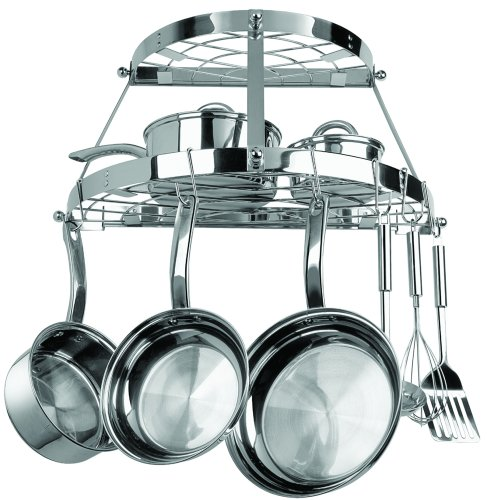Range Kleen 2 Shelf Wall Mount Pot Rack, Stainless Steel