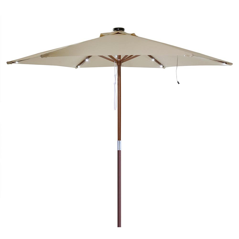 Ampersand 8-Ft. / 9-Ft. 6-Rib Wooden Outdoor Patio Umbrella Solar-Powered LED String Lights (Cool White) by AMPERSAND SHOPS (Image #9)