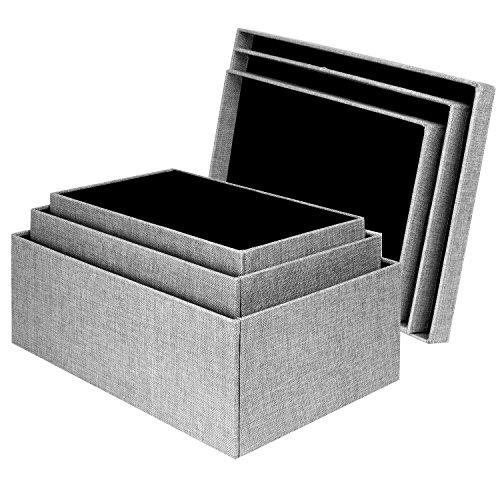 Storage Box Set 3 Pcs Gray Birch Fabric Lidded Shelf