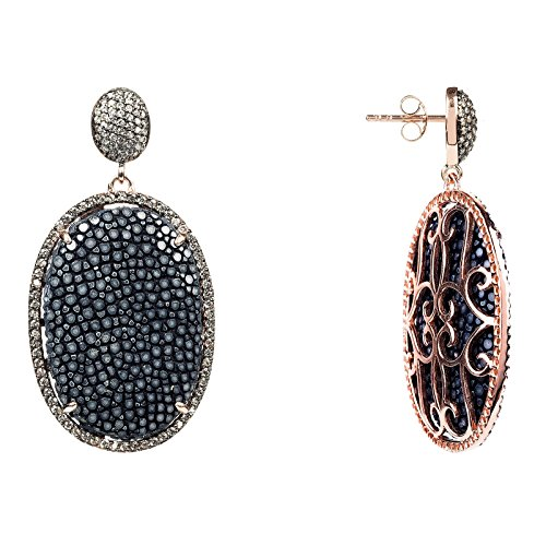 Stingray Pave Oval Earring Lapis