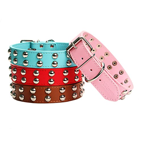 AOLOVE Basic Classic 2 Rows Mushrooms Rivet Studded Adjustable Leather Pet Collars for Medium Large Dogs (Large/Neck 16.5″-20.5″, Pink 2)