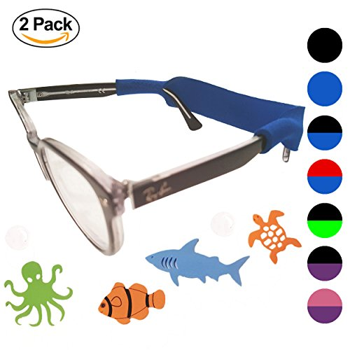 Kids Glasses Strap 2pk with Bonus Deep Sea Adventure Stickers (Black + - Eyeglasses Kids Accessories