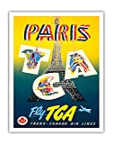 Paris - Fly TCA, Trans-Canada Air Lines - Eiffel Tower - Vintage Airline Travel Poster by H. P. c.1940s - Fine Art Print - 11in x 14in