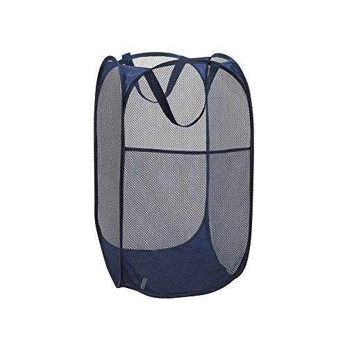 QDX Foldable Pop-Up Mesh Hamper, Laundry Hamper with Reinforced Carry Handles Dirty Clothes Multifunctional Storage Basket
