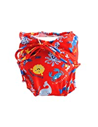 [Marine life] Adjustable Infant Swim Diaper with Ties, Medium Size, Red