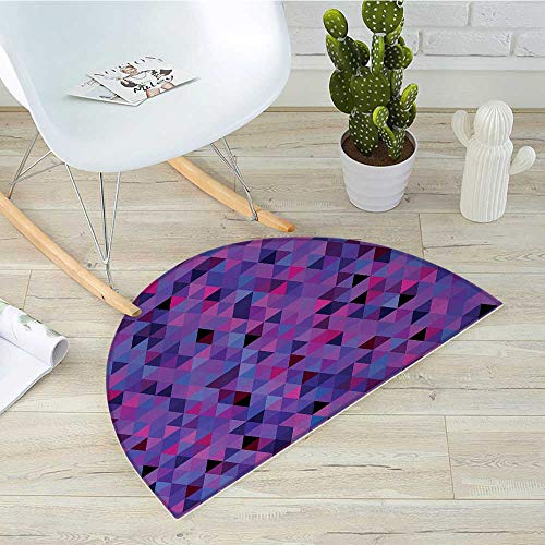 - Eggplant Semicircular CushionSmall Triangles Froming an Abstract Mosaic Pattern Geometric Shapes Modern Art Entry Door Mat H 39.3