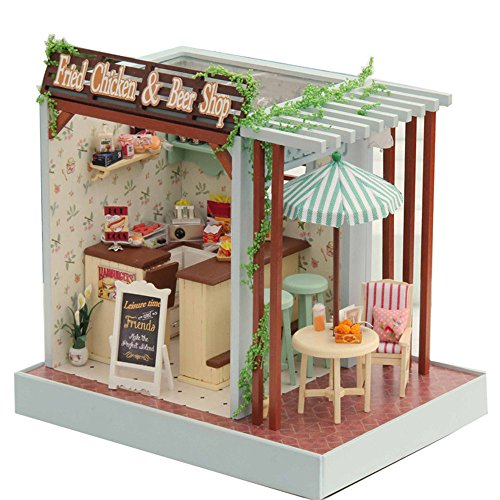 Flever Dollhouse Miniature DIY House Kit Creative Room With Furniture for Romantic Valentine's Gift(Fried Chicken and Beer Shop)