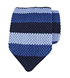 Slim Navy Blue Ugly Knitting Tie Border Patterned Business Necktie for Mens Boys