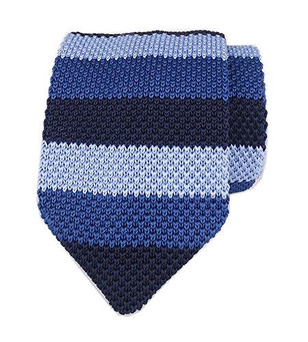Slim Navy Blue Ugly Knitting Tie Border Patterned Business Necktie for Mens Boys