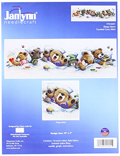 Janlynn 195-0601 14 Count Sleepy Bears Counted Cross Stitch Kit, 19 by 7-Inch ()