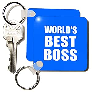 kc_194442_1 InspirationzStore Typography - Worlds Best Boss. white text on blue. great design for greatest boss - Key Chains - set of 2 Key Chains