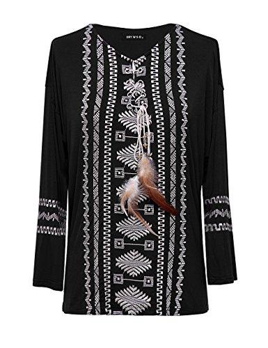 OMEYA WANSHIDA Women Casual Embroidered Bohemian Peasant