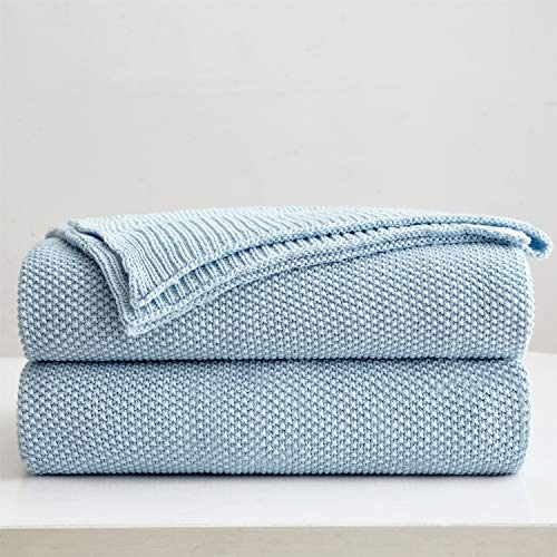 100% Cotton Light Blue Cable Knit Throw Blanket with Bonus Laundering Bag - Large 50 x 60 Inch Thick, Extra Cozy, Machine Washable, Comfortable Home Decor