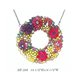 HF-308 14.5 Inch Vintage Tiffany Style Handmade Stained Glass Church Art Wreath Garland Ring Annuls Design Window Hanging Glass Panel Suncatcher