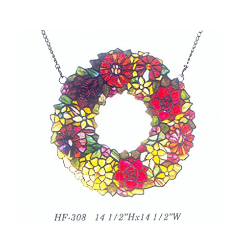 HDO Glass Panels HF-308 14.5 Inch Vintage Tiffany Style Handmade Stained Glass Church Art Wreath Garland Ring Annuls Design Window Hanging Glass Panel Suncatcher