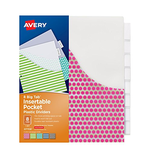 Avery Big Tab Insertable Plastic Dividers with Pockets, 8 Ta