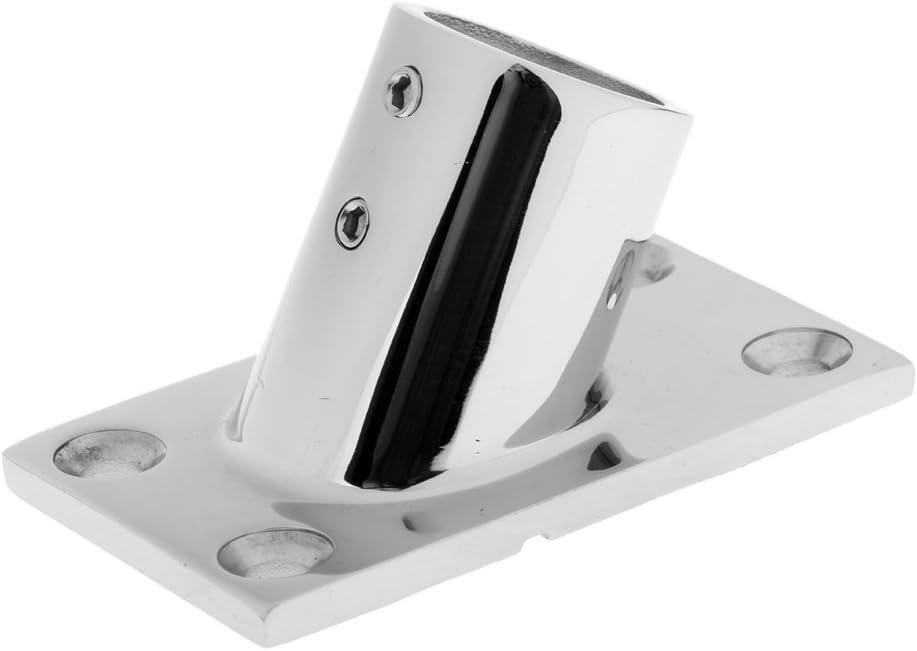 Almencla 2 Pack Heavy Duty Marine Boats Handrail Hand Rail Hardware Fitting 60 Degree Rectangle Base for 7//8 icnh 22mm Tube