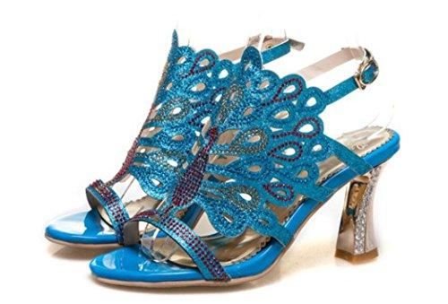 Word Verano 35 Dew Xie De Sandalias Herradura Las Gold 8cm Catwalk Hebilla Rhinestones Cinturón Toe Y 38 Blue Compras La Band Fiesta Señoras EOBqOx