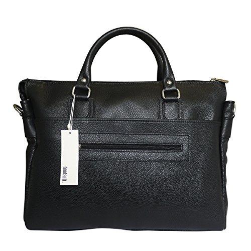 Bonfanti Genello Designer Luxus italienischen Leder Reißverschluss oben Aktentasche (schwarz)