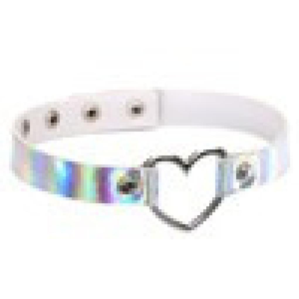 Clearance Heart-Shaped Necklace Laimeng Fashion Necklace Holographic Rainbow Necklace (White)