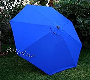 "BELLRINO DECOR Replacement 9ft 8 Ribs ROYAL BLUE "" STRONG & THICK "" Umbrella Canopy (Canopy Only) Royal Blue 98"