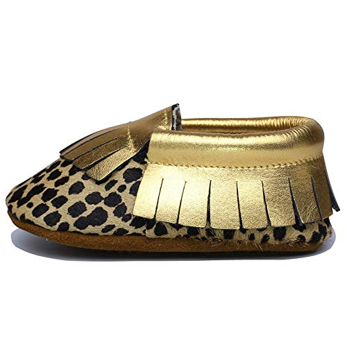 Muy Guay Baby Moccasins Genuine Leather Leopard Baby Shoes Gold Tassel Unisex Toddlers Shoes with Nonslip Rubber Sole for First Walker Boys Girls(12-18 Months M US Infant, Leopard)