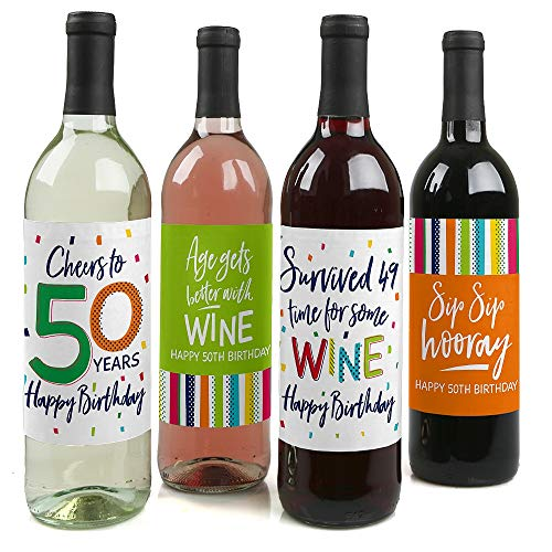 50th Birthday - Cheerful Happy Birthday - Colorful Fiftieth Birthday Party Decorations for Women and Men - Wine Bottle Label Stickers - Set of 4