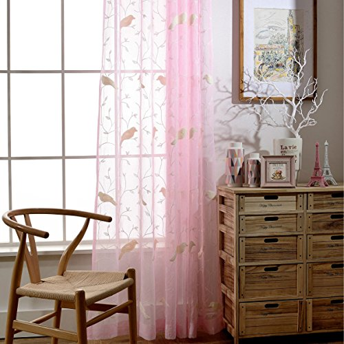 Pink Rod Pocket Sheer Curtains 84 inches Length Birds Embroidered Window Curtain Sheer Voile Panels for Living Room & Bedroom, Set of 2 ()